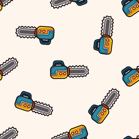 chainsaw: Chainsaw , cartoon seamless pattern background Illustration