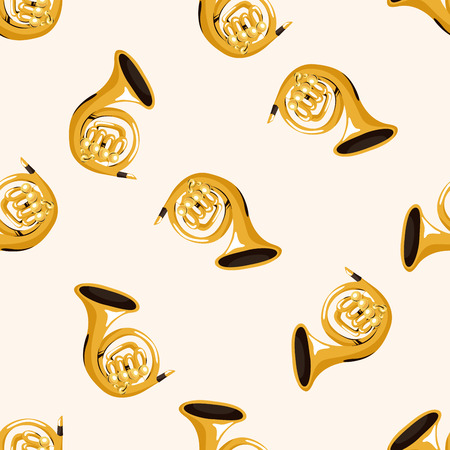 french horn: instrument french horn cartoon , cartoon seamless pattern background