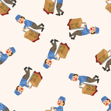 deliveryman: deliveryman , cartoon seamless pattern background