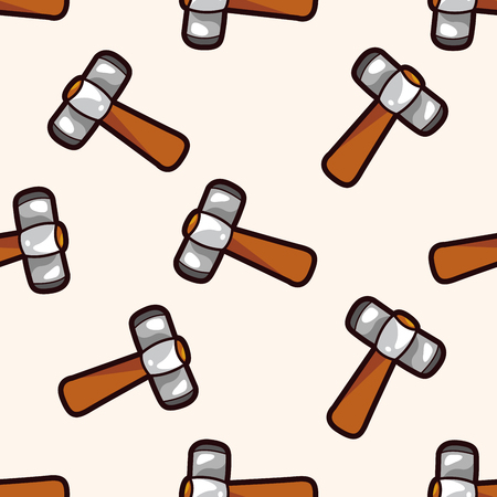 work tool: work tool hammer , cartoon seamless pattern background Illustration