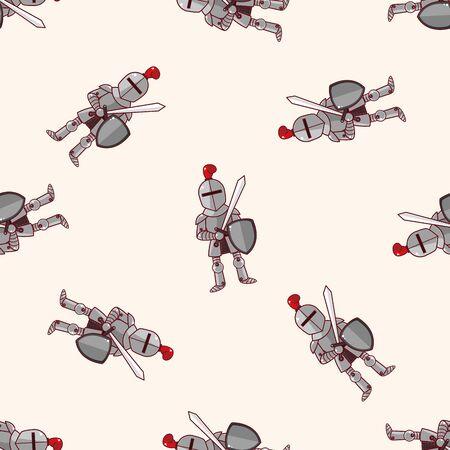 caballero medieval: caballero, de dibujos animados patrón de fondo sin fisuras