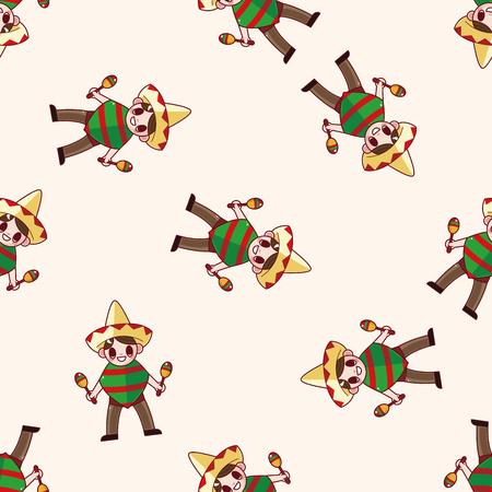 mexican cartoon: Mexican , cartoon sticker icon Illustration