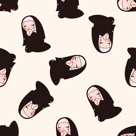 preacher: pastor and nun , cartoon seamless pattern background