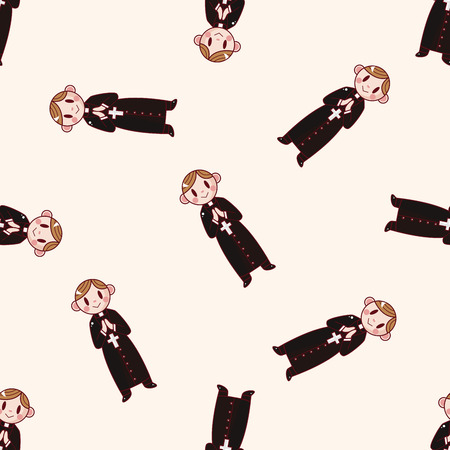 missionary: pastor and nun , cartoon seamless pattern background