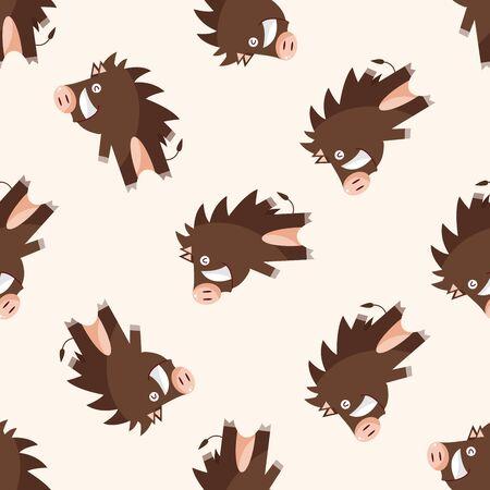 jabali: historieta del cerdo salvaje animal, icono de etiqueta de dibujos animados Vectores