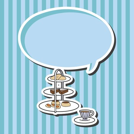 afternoon fancy cake: English Afternoon Tea theme elements vector
