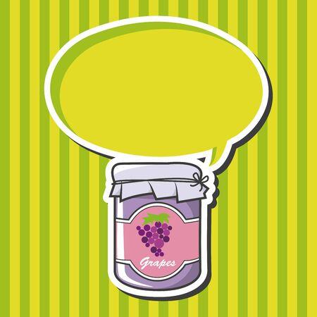 canned fruit: grape jam theme elements vector Illustration