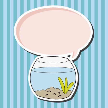 goldenfish: Pet goldfish bowl theme element vector
