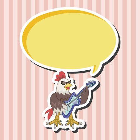 animal cock: animal cock playing instrument cartoon theme elements