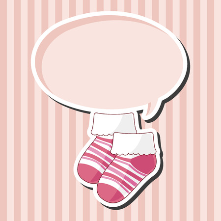 cute baby girls: baby socks theme elements Illustration