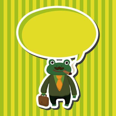 zoo amphibian: animal frog worker cartoon theme elements Illustration