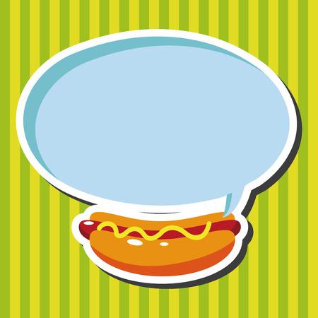 hot food: fast foods hotdog theme elements Illustration