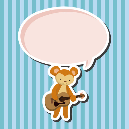 playing instrument: animal monkey playing instrument cartoon theme elements Illustration