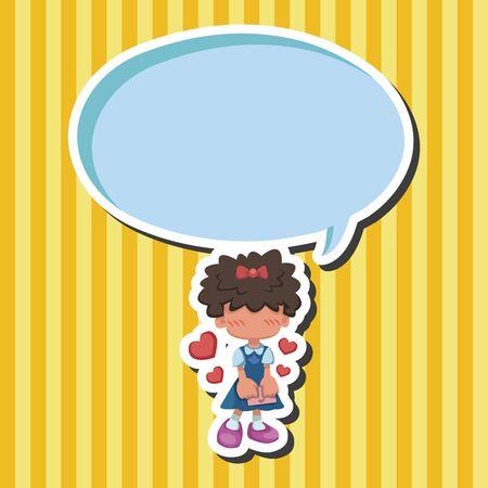 cartoon school girl: student theme elements  Illustration