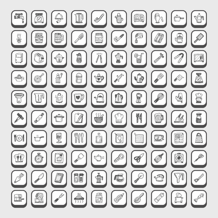 doodle kitchen icons Vector Illustration