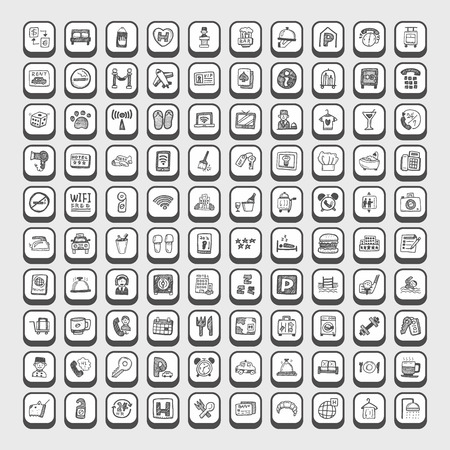 Griffonnage icônes de l'hôtel Banque d'images - 43587464