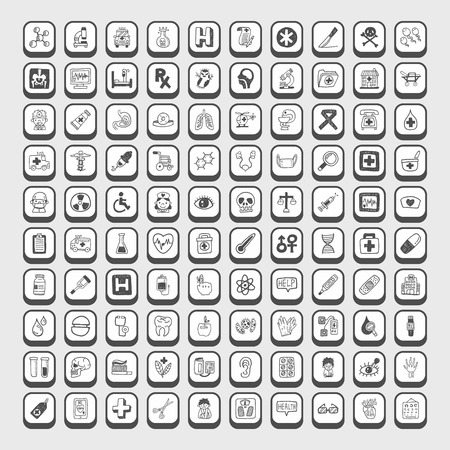 doodle Medical icons 向量圖像