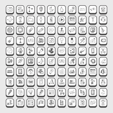communication icons: doodle communication icons