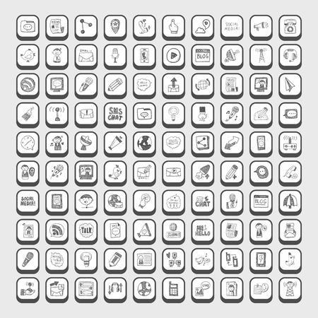 communication icons: doodle communication icons