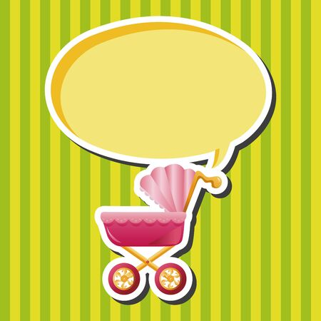 cute baby girls: Baby carriages theme elements Illustration
