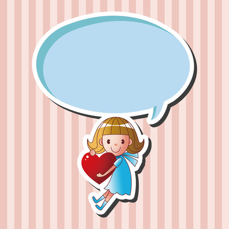 cute baby girls: little kid with heart theme elements Illustration