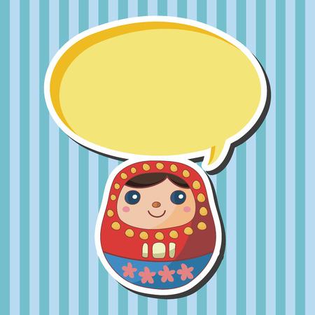 Matryoshka , Russian traditional wooden doll, theme elements