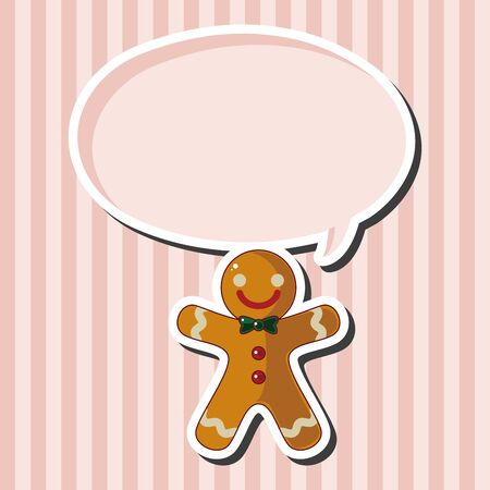 Gingerbread man theme elements Illustration