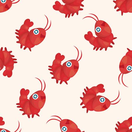 sea animal: sea animal shrimp cartoon ,seamless pattern