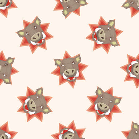 animal in wild: animal wild pig cartoon ,seamless pattern Illustration
