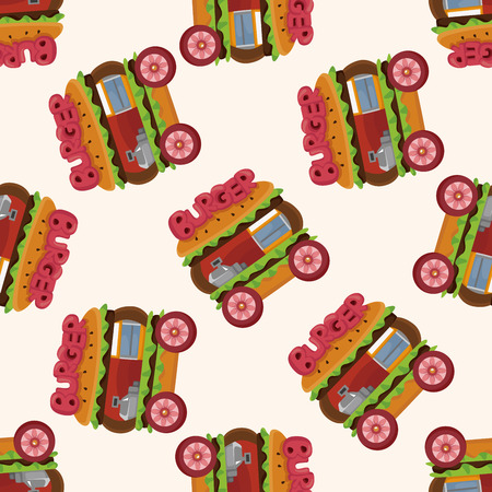 illustration isolated: style dining car ,seamless pattern