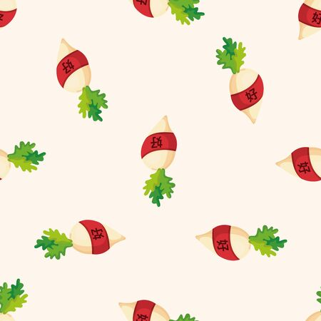 vegatables: Chinese New Year, lucky white radish with Chinese,seamless pattern