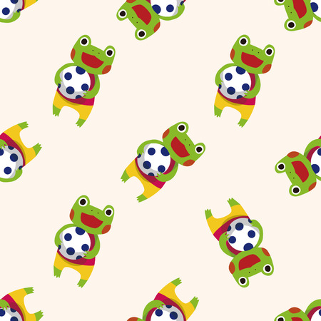 cute animal cartoon: summer animal frog icon 10,seamless pattern