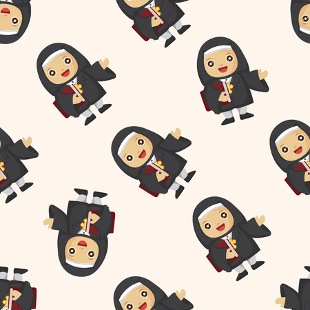 pastor: pastor and nun ,seamless pattern