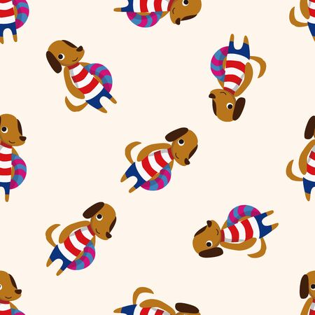 dog summer: summer animal dog icon 10,seamless pattern