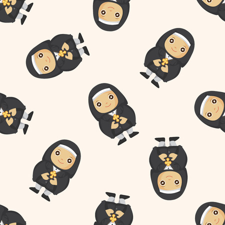 missionary: pastor and nun ,seamless pattern