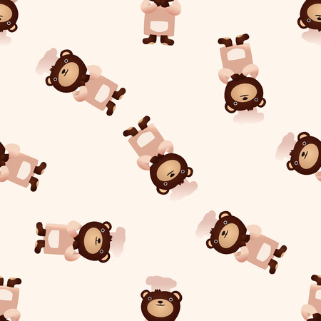 cute animal cartoon: Animal bear icon, 10,seamless pattern