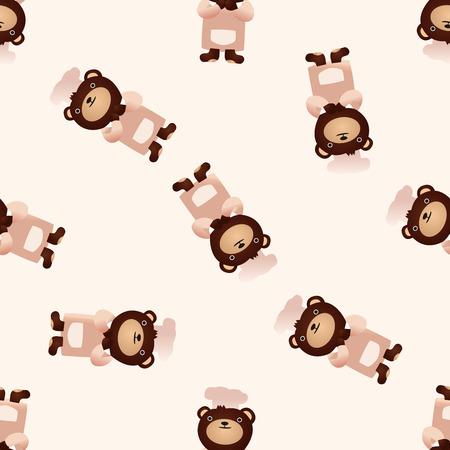 caricaturas de animales: icono de oso animal, 10, modelo inconsútil Vectores