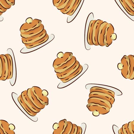 pancake: fast food pancake icon,10,seamless pattern Illustration