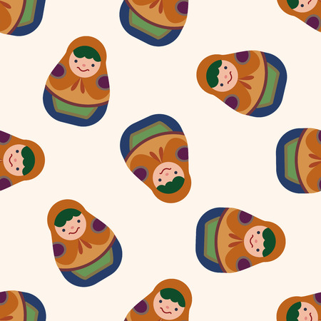 fl: Matryoshka, Russian traditional wooden doll, fl,seamless pattern Illustration