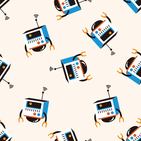 cartoon animal: bizarre robot icon 10,seamless pattern