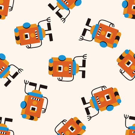 cute animal cartoon: bizarre robot icon 10,seamless pattern