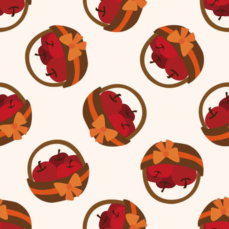 gift basket: apples in the gift basket icon,10,seamless pattern Illustration