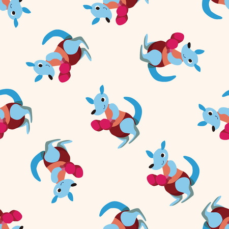 angry animal: sport animal kangaroo cartoon ,seamless pattern