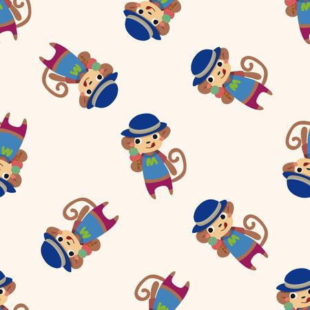 cute animal cartoon: summer animal monkey icon 10,seamless pattern Illustration