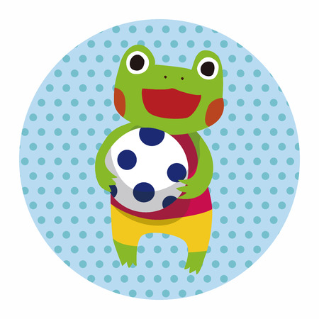 cute frog: summer animal frog flat icon elements background,eps10