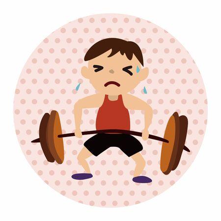 sport Weight lifting athlete flat icon elements background,eps10 Ilustração