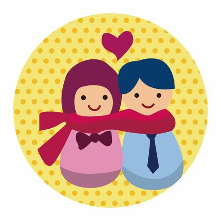 inlove: Valentines day couple flat icon elements background,eps10