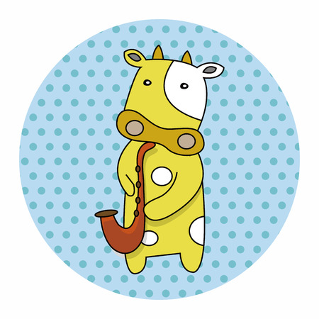 playing instrument: animal cow playing instrument cartoon theme elements