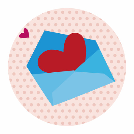 handwrite: Valentines day love letter flat icon elements background,eps10 Illustration