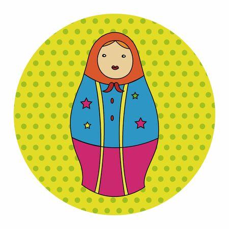 wooden doll: Matryoshka, Russian traditional wooden doll, vector pattern, elements,eps Illustration